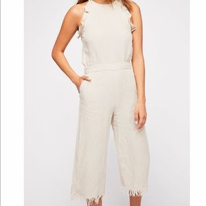 Cream linen jumpsuit from free people